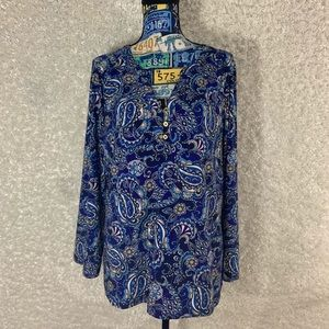 Pappagallo blue paisley blouse top L